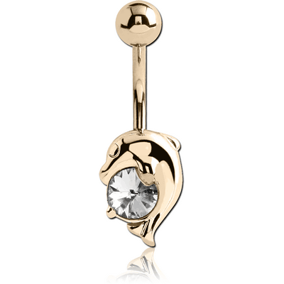 14K GOLD CZ DOLPHIN NAVEL BANANA WITH HOLLOW TOP BALL