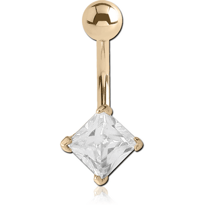 14K GOLD SQUARE PRONG SET 5MM CZ NAVEL BANANA WITH HOLLOW TOP BALL