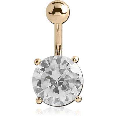 14K GOLD ROUND PRONG SET 12MM CZ NAVEL BANANA WITH HOLLOW TOP BALL