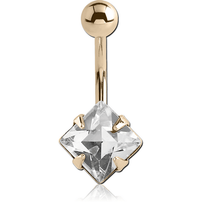 14K GOLD SQUARE PRONG SET 8MM CZ NAVEL BANANA WITH HOLLOW TOP BALL