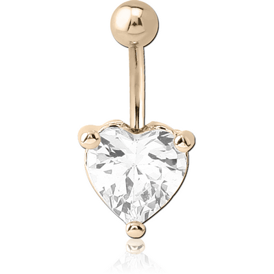14K GOLD HEART PRONG SET 8MM CZ NAVEL BANANA WITH HOLLOW TOP BALL
