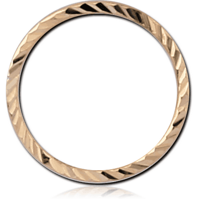 14K GOLD SEAMLESS RING WITH DIAMOND CUTTING