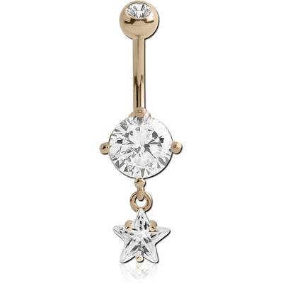 14K GOLD STAR CZ DANGLE NAVEL BANANA WITH JEWELLED TOP BALL