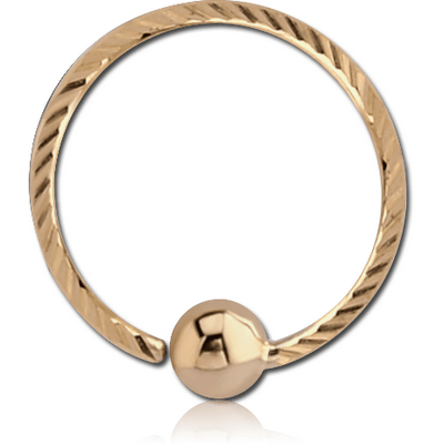 14K GOLD FIXED BEAD RING WITH DIAMOND CUTTING AND BALL PLAIN