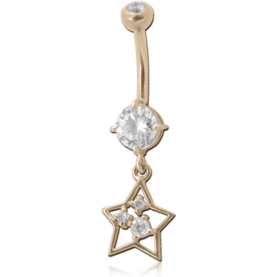 14K GOLD DOUBLE JEWELLED NAVEL BANANA WITHCZ STAR CHARM