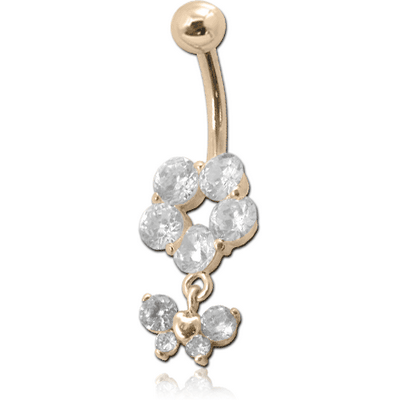 14K GOLD JEWELLED NAVEL BANANA WITH CZ BUTTERFLY CHARM