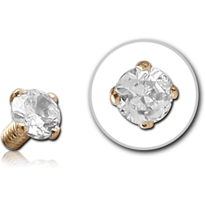 14K GOLD PRONG SET JEWELLED BALL FOR 1.6MM INTERNALLY THREADED PINS