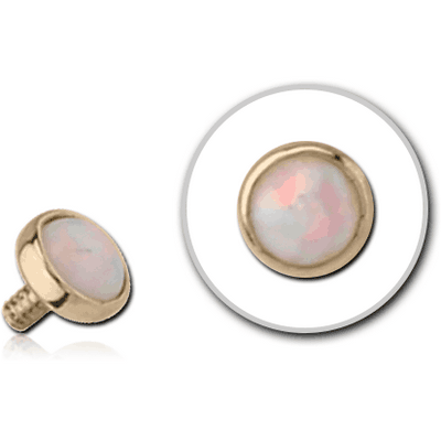 14K GOLD SYNTHETIC OPAL JEWELLED DISC FOR 1.2MM INTERNALLY THREADED PINS