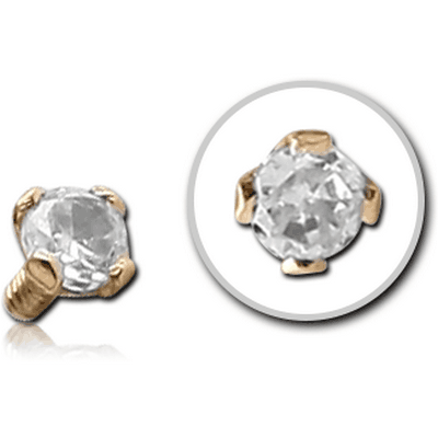 14K GOLD PRONG SET JEWELLED BALL FOR 1.2MM INTERNALLY THREADED PINS