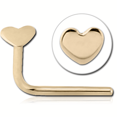 14K GOLD 90 DEGREE HEART NOSE STUD