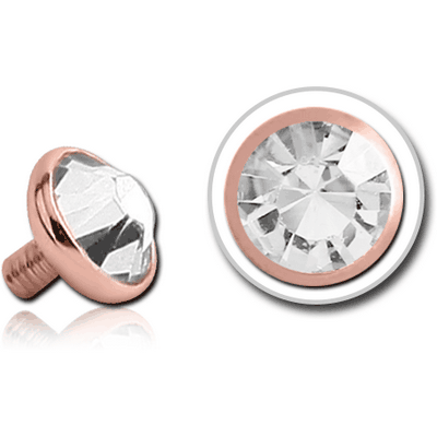 14K ROSE GOLD JEWELLED DISC FOR 1.6MM INTERNALLY THREADED PINS