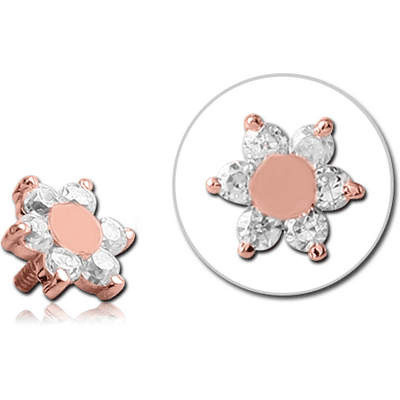 14K ROSE GOLD JEWELLED ATTACHMENT FOR 1.2MM INTERNALLY THREADED PINS