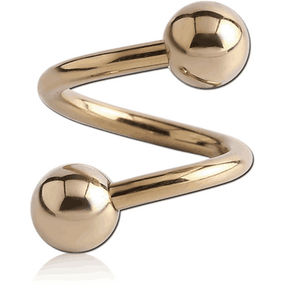 14K GOLD BODY SPIRAL WITH HOLLOW BALLS