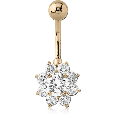 18K GOLD FLOWER MULTI CZ NAVEL BANANA WITH HOLLOW TOP BALL