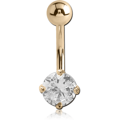 18K GOLD ROUND PRONG SET 5MM CZ NAVEL BANANA WITH HOLLOW TOP BALL