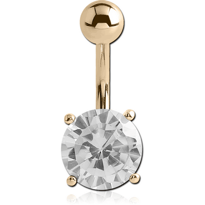 18K GOLD ROUND PRONG SET 9MM CZ NAVEL BANANA WITH HOLLOW TOP BALL