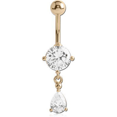 18K GOLD ROUND CZ DANGLE NAVEL BANANA WITH HOLLOW TOP BALL