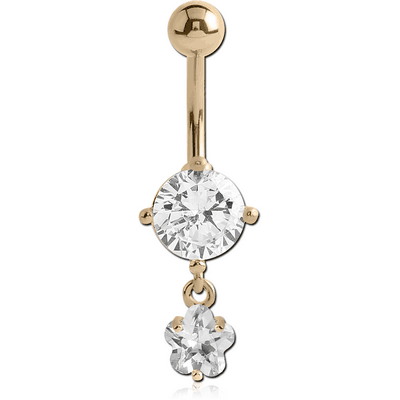 18K GOLD FLOWER CZ DANGLE NAVEL BANANA WITH HOLLOW TOP BALL
