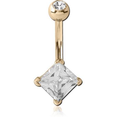 18K GOLD SQUARE PRONG SET 5MM CZ NAVEL BANANA WITH JEWELLED TOP BALL