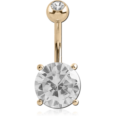 18K GOLD ROUND PRONG SET 9MM CZ NAVEL BANANA WITH JEWELLED TOP BALL