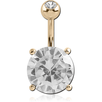 18K GOLD ROUND PRONG SET 10MM CZ NAVEL BANANA WITH JEWELLED TOP BALL
