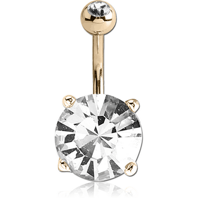 18K GOLD ROUND PRONG SET 11MM CZ NAVEL BANANA WITH JEWELLED TOP BALL
