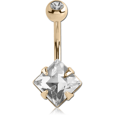 18K GOLD SQUARE PRONG SET 8MM CZ NAVEL BANANA WITH JEWELLED TOP BALL