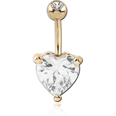 18K GOLD HEART PRONG SET 10MM CZ NAVEL BANANA WITH JEWELLED TOP BALL