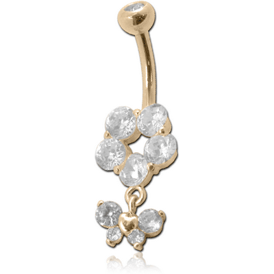 18K GOLD CZ AND BUTTERFLY CHARM NAVEL BANANA WITH JEWELLED TOP BALL