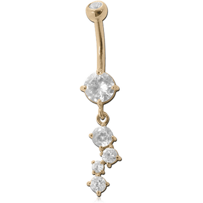 18K GOLD DOUBLE JEWELLED NAVEL BANANA WITH CZ CHARM