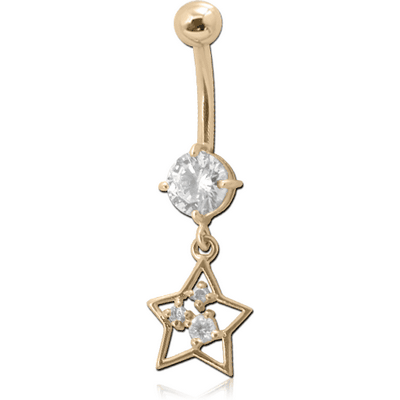 18K GOLD CZ STAR CHARM NAVEL BANANA WITH HOLLOW TOP BALL