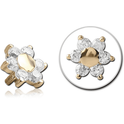 18K GOLD FLOWER JEWELLED ATTACHMENT FOR 1.6MM INTERNALLY THREADED PINS