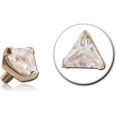 18K GOLD PRONG SET CZ TRIANGLE ATTACHMENT FOR 1.6MM INTERNALLY THREADED PINS
