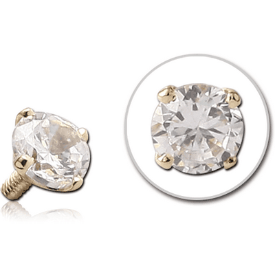 18K GOLD PRONG SET CZ ROUND ATTACHMENT FOR 1.6MM INTERNALLY THREADED PINS