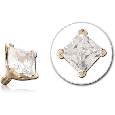 18K GOLD PRONG SET CZ SQUARE ATTACHMENT FOR 1.6MM INTERNALLY THREADED PINS