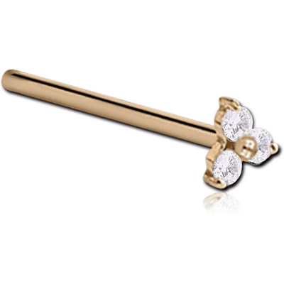 18K GOLD PRONG SET TRINITY JEWELLED STRAIGHT LARGE NOSE STUD