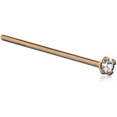 18K GOLD STRAIGHT 15MM LARGE NOSE STUD WITH 1.35MM PRONG SET DIAMOND