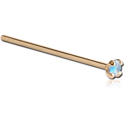 18K GOLD 2MM PRONG SET JEWELLED STRAIGHT NOSE STUD