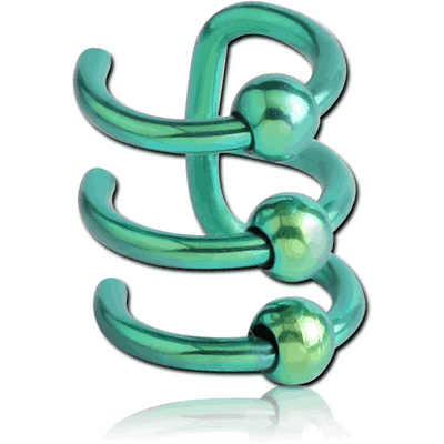 ANODISED SURGICAL STEEL TRIPLE ILLUSION EAR CUFF WITH BALLS