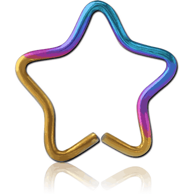 ANODISED SURGICAL STEEL STAR SEAMLESS RING