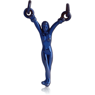 ANODISED SURGICAL STEEL HANGING WOMAN FOR NIPPLE BARBELL