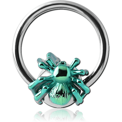 SURGICAL STEEL BALL CLOSURE RING WITH ANODISED SPIDER