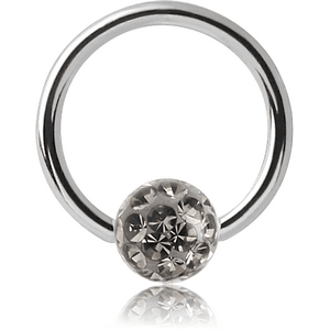 SURGICAL STEEL MICRO BALL CLOSURE RING WITH EPOXY COATED CRYSTALINE JEWELLED BALL