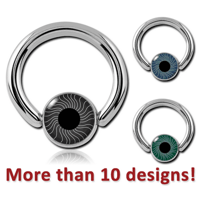 SURGICAL STEEL BALL CLOSURE RING WITH EYE BALL