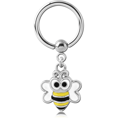 SURGICAL STEEL BALL CLOSURE RING WITH CHARM - BEE