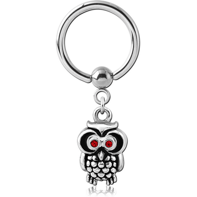 SURGICAL STEEL BALL CLOSURE RING WITH CHARM - OWL