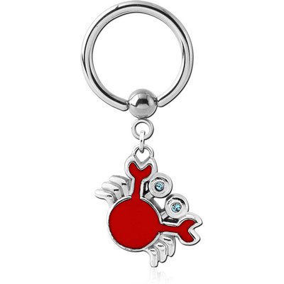 SURGICAL STEEL BALL CLOSURE RING WITH CHARM - CRAB