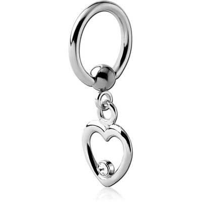 SURGICAL STEEL BALL CLOSURE RING WITH JEWELLED HEART CHARM