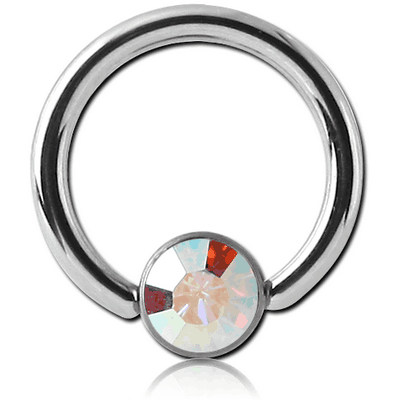 SURGICAL STEEL SWAROVSKI CRYSTAL JEWELLED DISC BALL CLOSURE RING