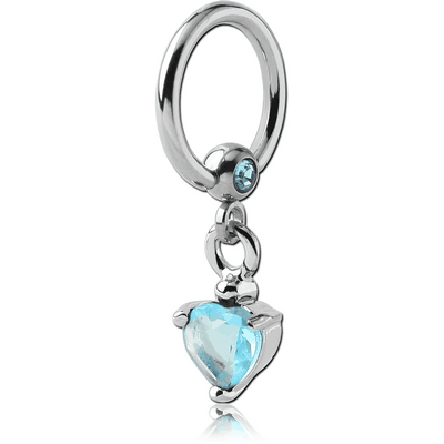 SURGICAL STEEL JEWELLED BALL CLOSURE RING WITH PRONG SET HEART CHARM